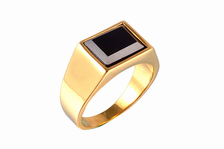 Speed sell hot, European and American style, black agate stone square titanium steel ring YSS754