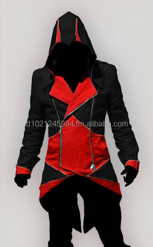ASSASSINS CREED 3 BLACK RED CLOAK HOODIE