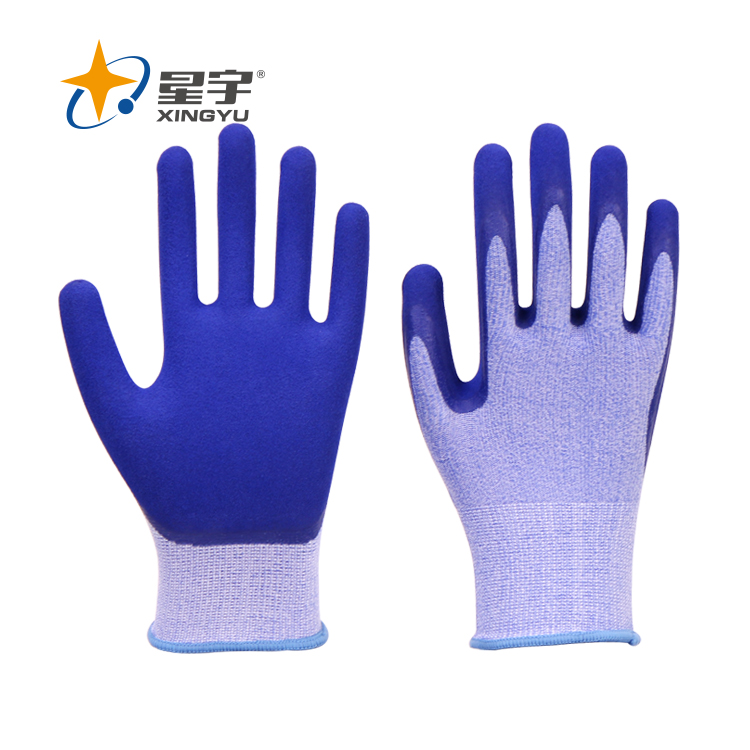 Latex Work <strong>Glove</strong> Xingyu 13G Blue Polyester And Spandex Shell Blue Latex Sandy Coating Safety Work <strong>Gloves</strong> Qingdao <strong>Glove</strong>