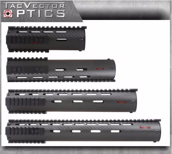 Ultra Light Tactical AR Hand Guard 7 10 12 15 inch Carbon Fiber with Quad Picatinny Rail Mount and End Cap Handguard