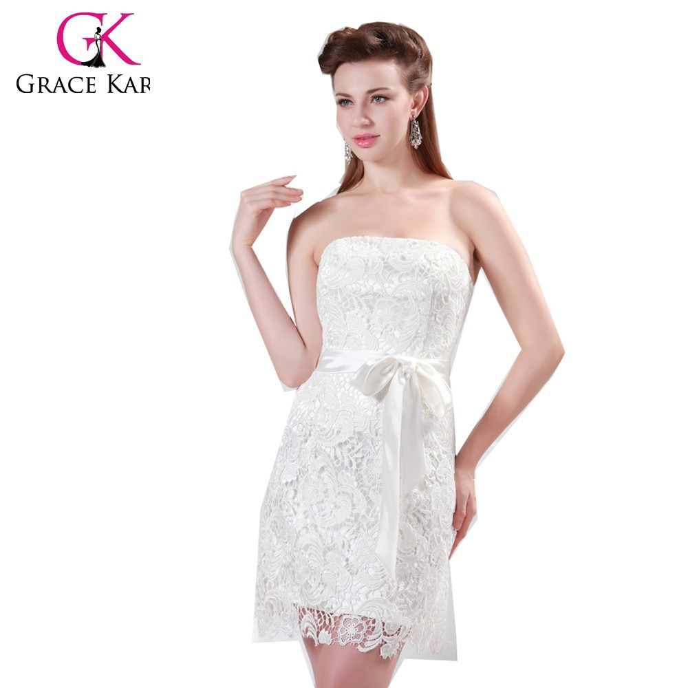 Grace Karin Newest Ladies White Lace Knee Length Bridesmaid Dress 2015 CL4472