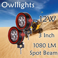 "Motorcycle LED Lighting ATV for Sale 3"" 12W Min LED Offroad Auxiliary Work Light/ 12w LED Headlamp"