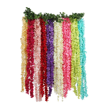 Flowerking brand direct sale wedding silk wisteria hanging fabric decorative giant artificial flower string