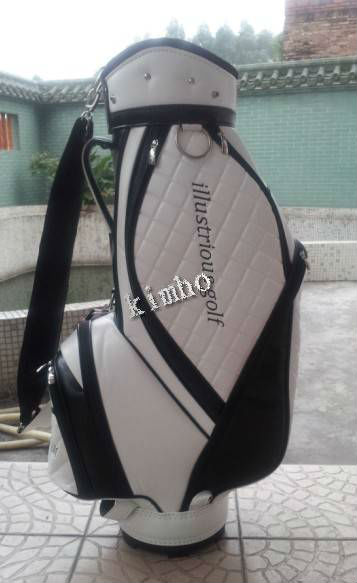 newest white leather golf bag