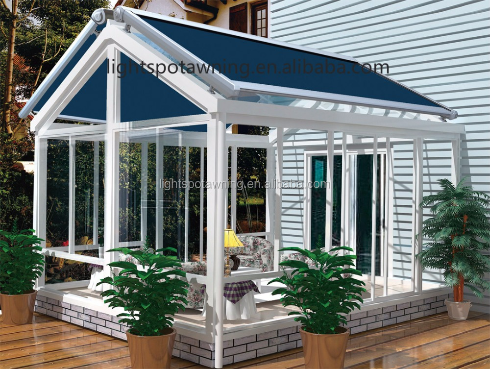 Waterproof auto awnings for terrace/Glass Roof Retactable Awning aluminium canopy awning For Sale