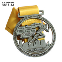 Custom metal Superhero Run anniversary souvenir medal with ribbon WM1478