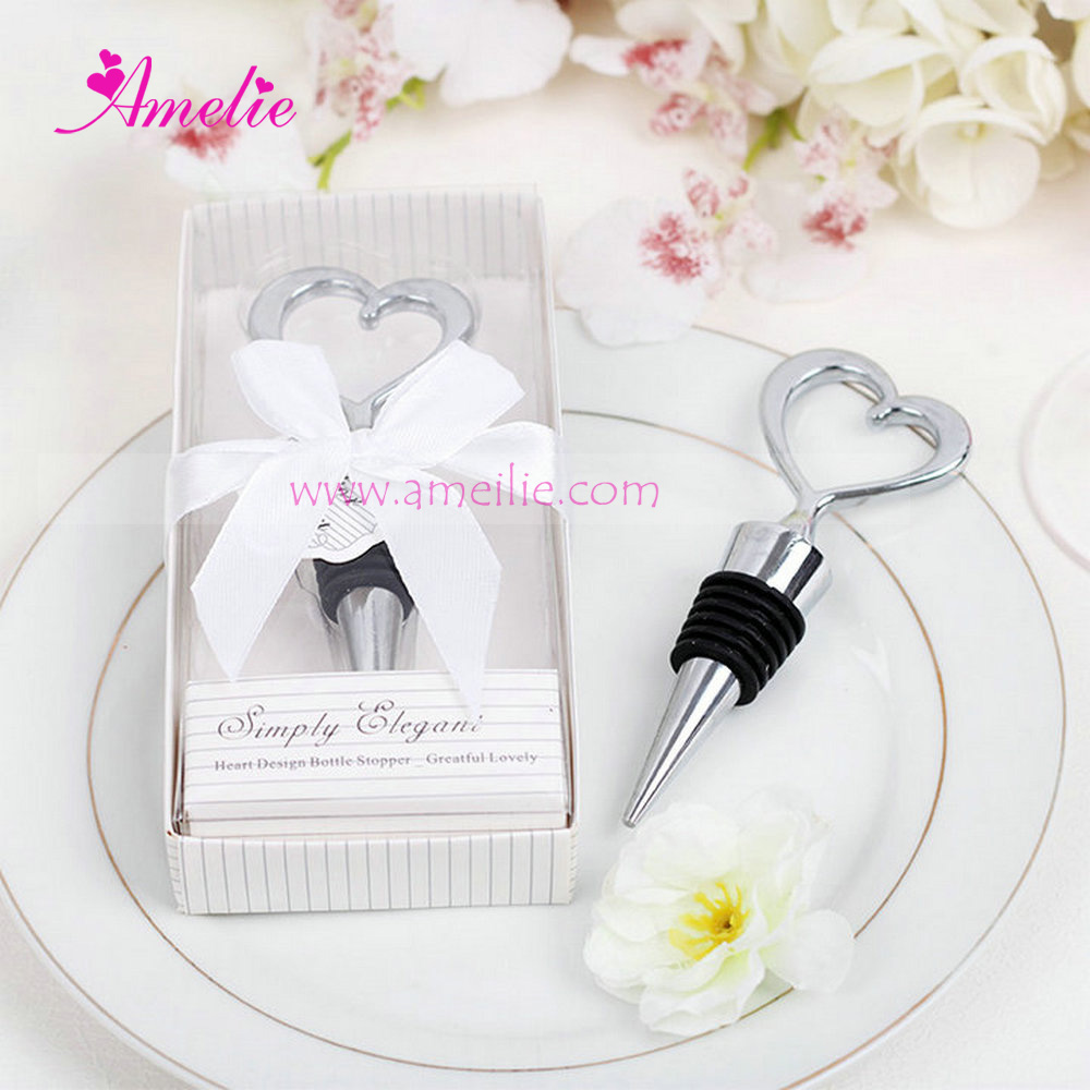 Simply Elegant Chrome Heart Fancy Wine Bottle Stopper Wedding Gifts