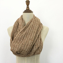 Solid color fashion winter knitted infinity women warm scarf