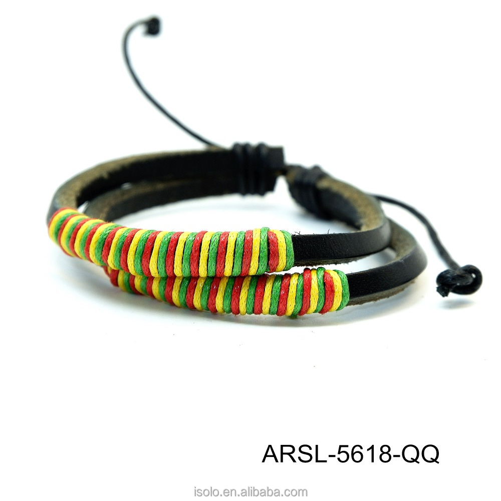 Unisex jewelly accessories Colorful handmade fashion leather bracelet