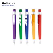 Reliabo Promotional Gift Custom Logo Plastic Material Pen Barrel Black Blue Ink Ball Pens