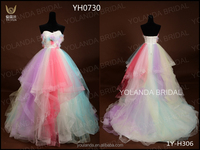 YH0730 Five Color Combination Sweetheart Heart Strapless Beads Ball Gown Quinceanera Dress