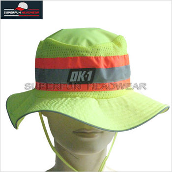 yellow fabric wide brim safety fluorescent hat