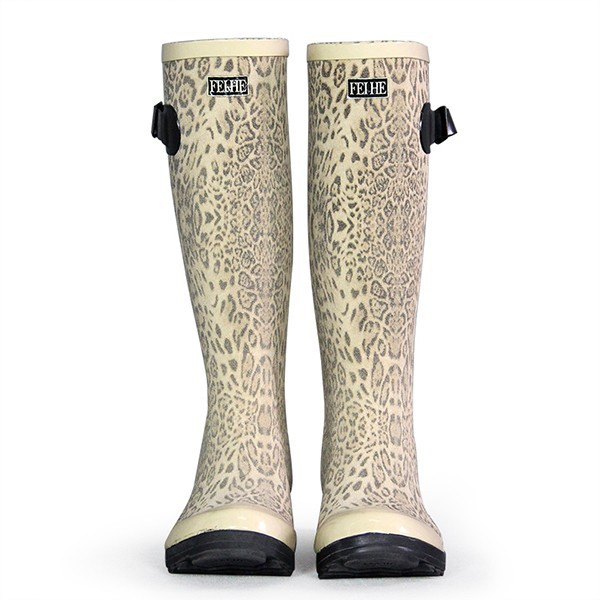 Appealing Elegant Aura White Leopard Print Rubber Laudatory Quality Lady Rubber Boot