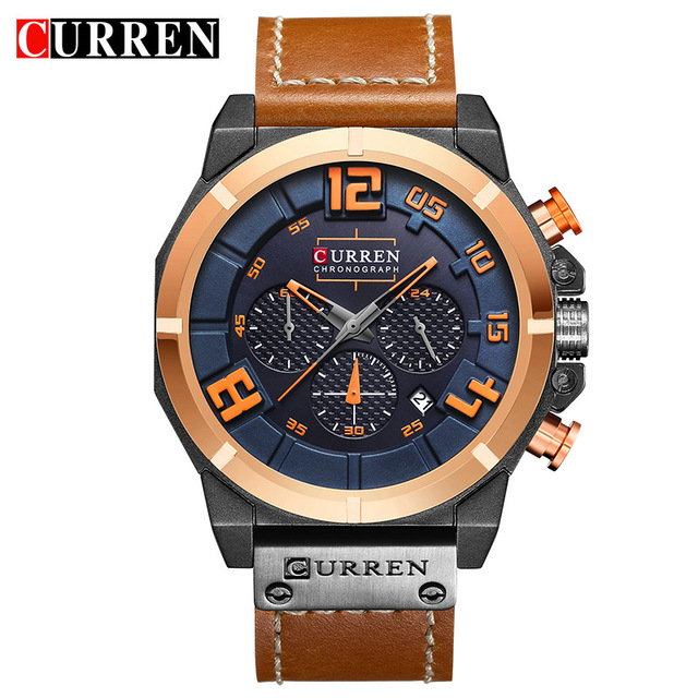 New In Stock Watch Brand Men Chronography High Quality Clock Men <strong>Date</strong> 24 Hours Relogio Masculino Curren 8287