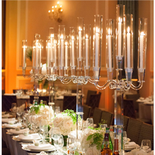 Romantic 5 Arms Crystal Candelabra for Wedding Centerpieces