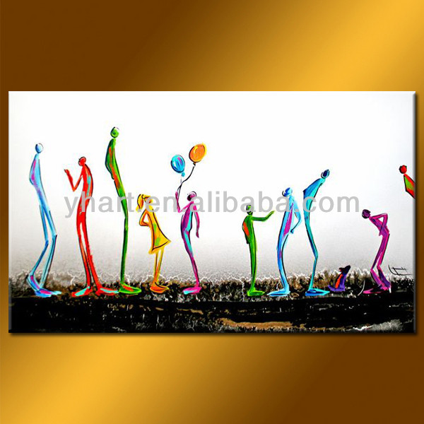 Wholesale 100% handmade colourful painting picture on canvas
