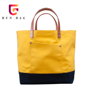 Wholesale Blank Waxed Canvas Tote Bag with Leather Handles