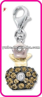 Gold crystal metal perfume bottle charm(183898)
