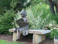 Sitting Girl Reading Book Bronze Statue For Garden Decoration