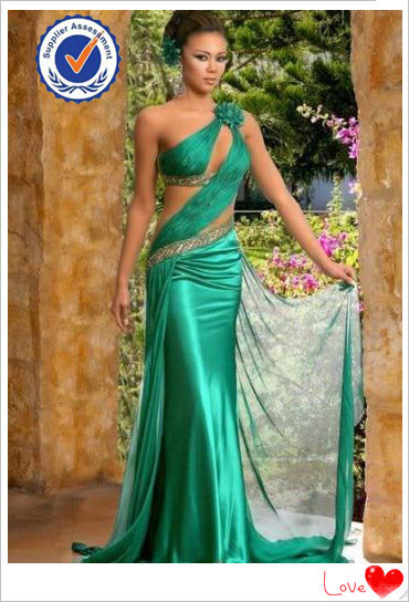 newest indian one shoulder strap ladies green prom dress