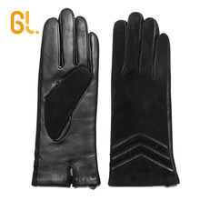 GL Women Fashion Dress Black Good Sheepskin Suede Leather Gloves
