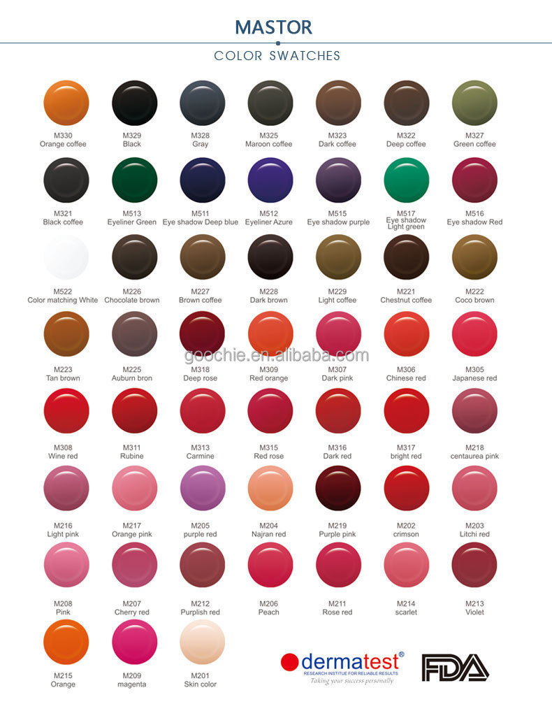 Various colors glitter tattoo ink for permanent make up for Tattoo ink color chart