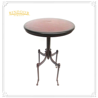 Industrial furniture wood top round dining table coffee table