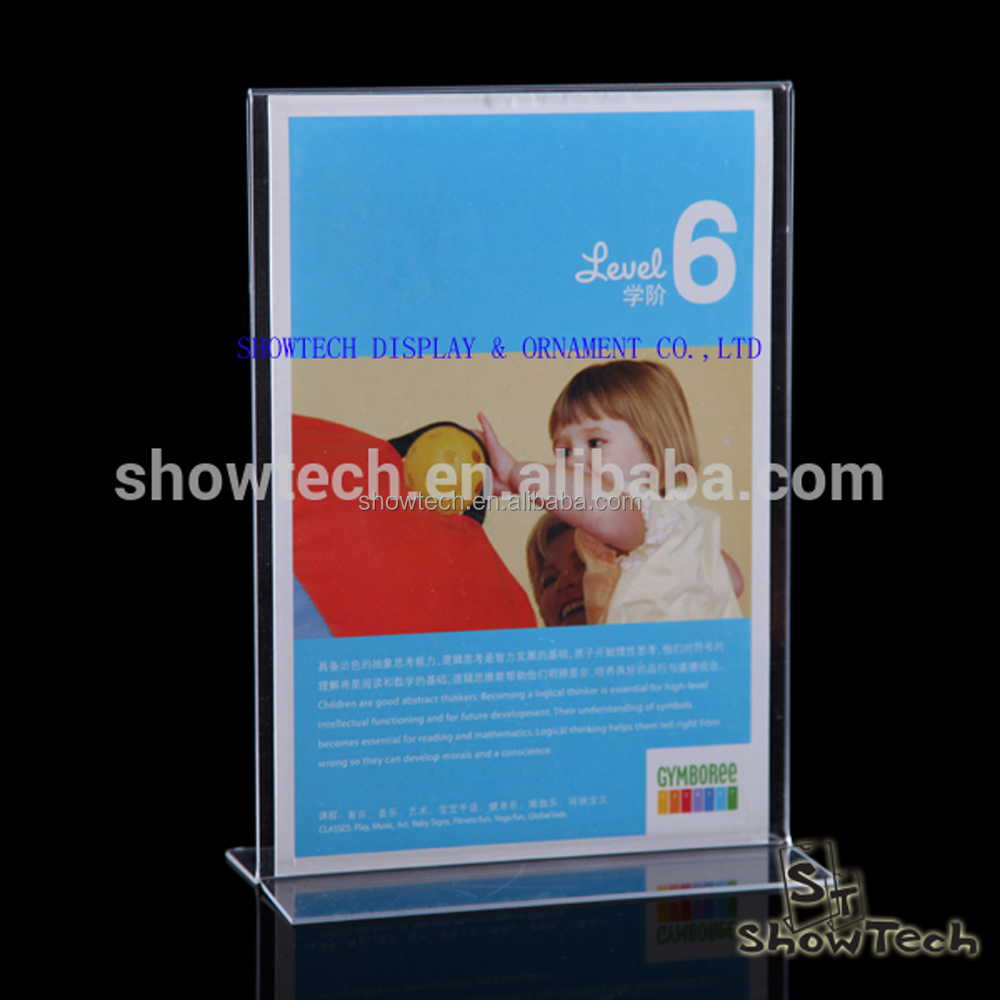 Side loading acrylic menu sign holder , Clear Plastic Advertising Paper Holder Stands