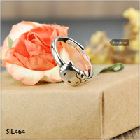 "925 Sterling Silver Hello Kitty Ring Hand-Made! 925 Sterling Silver Super Adorable ""Hello Kitty"" Adjustable Ring! SIL464"