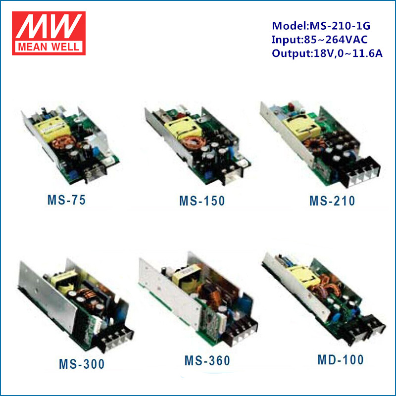 Meanwell smps modular paralleble single output MS-210-1G 210W 18v switching power supply with PFC
