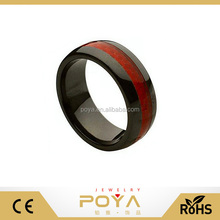 POYA Jewelry 6-8mm New Model Womens Black Ceramic Jewelry Red/Blue/Black Carbon Fiber Inlay Engagement Wedding Bands Ring Domed
