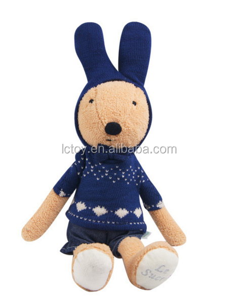 100% organic cotton baby toy stuffed plush baby toy rabbit