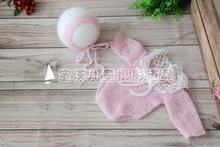 Fashion Mohair Baby Hat and Jumpsuits Baby overall set Knit Newborn photo props