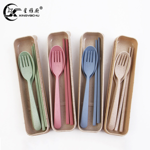Eco-Friendly Wheat Straw Fork Chopsticks Spoon Tableware for Child Travel Camping Picnic