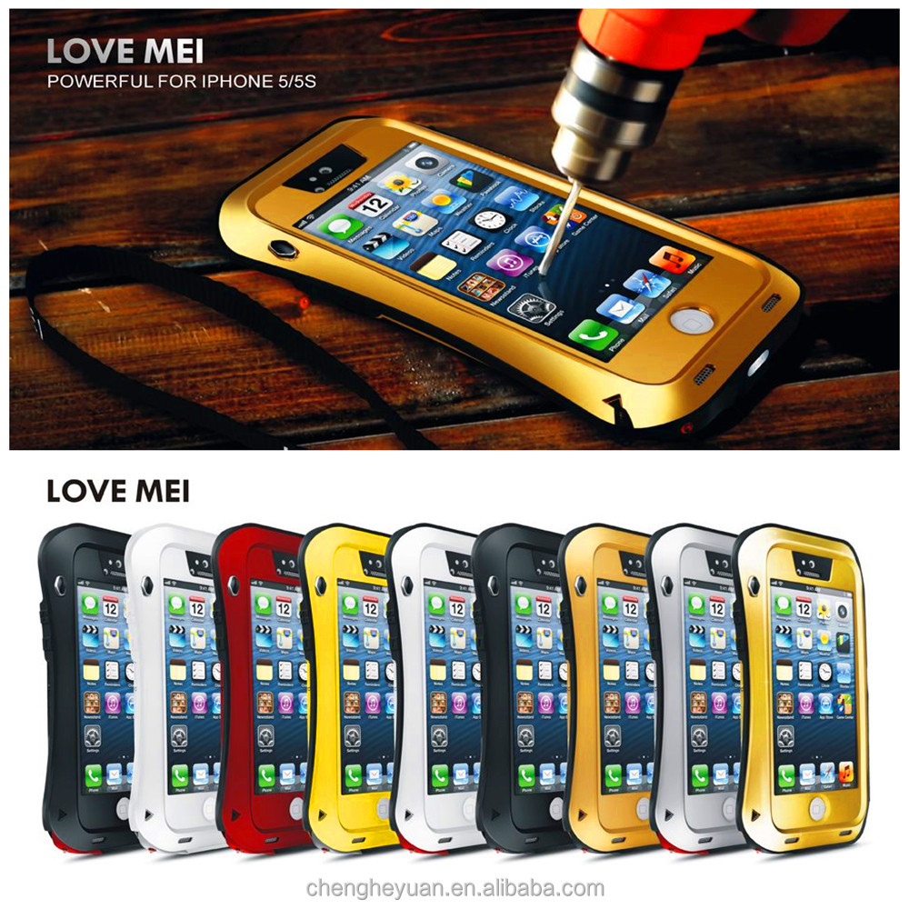 New Arrival Love mei Shockproof Waterproof Rugged Gorilla Metal Case For iphone 5 5s