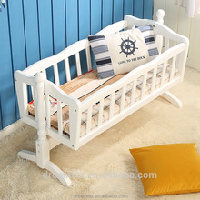 High quality solid wood baby cot bed baby swing bed