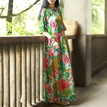 New Design Short Sleeve Cotton Long Traditional Chinese Dress