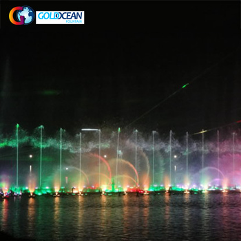 Lake Floating Splendid Color Changing Water Founain For Night Lake Show