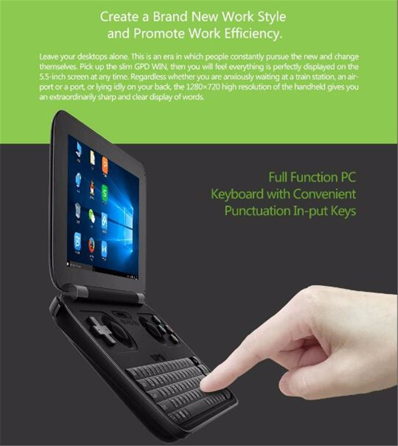 The World First Win 10 System Handheld Game Console GPD WIN 5.5 Inch Quad Core game machine with Intel Atom video game
