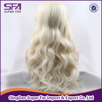 Good quality blonde color synthetic hair lace front wig