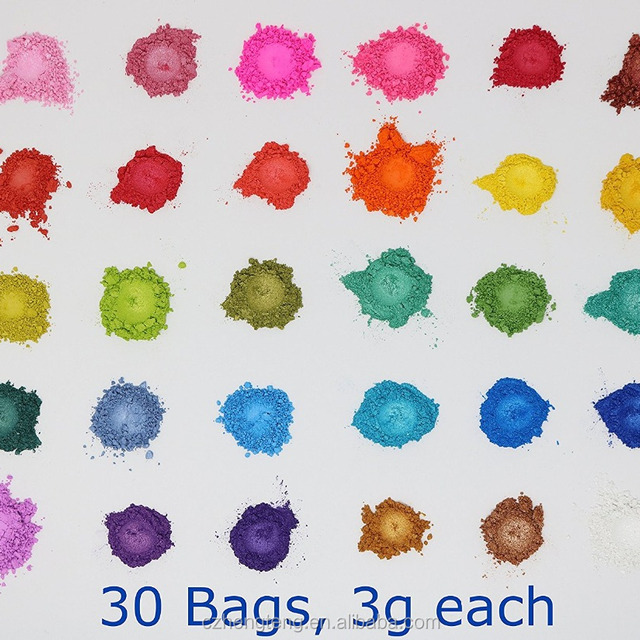 Mica Cosmetic Colorants - 3g 30 bags - Soap Makings Bath Bomb Mineral Makeup Eye Shadow Lip Balm Slime Play Dough Nail Art Resin