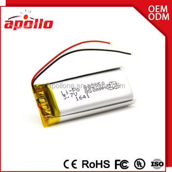 3.7v 850mah lipo battery Small Battery Rechargeable 802050 lithium batteries