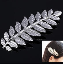 SP312 Yiwu Huilin Jewelry Slender leaf hair clip Spring Leaf card vintage hair clips for lady gift