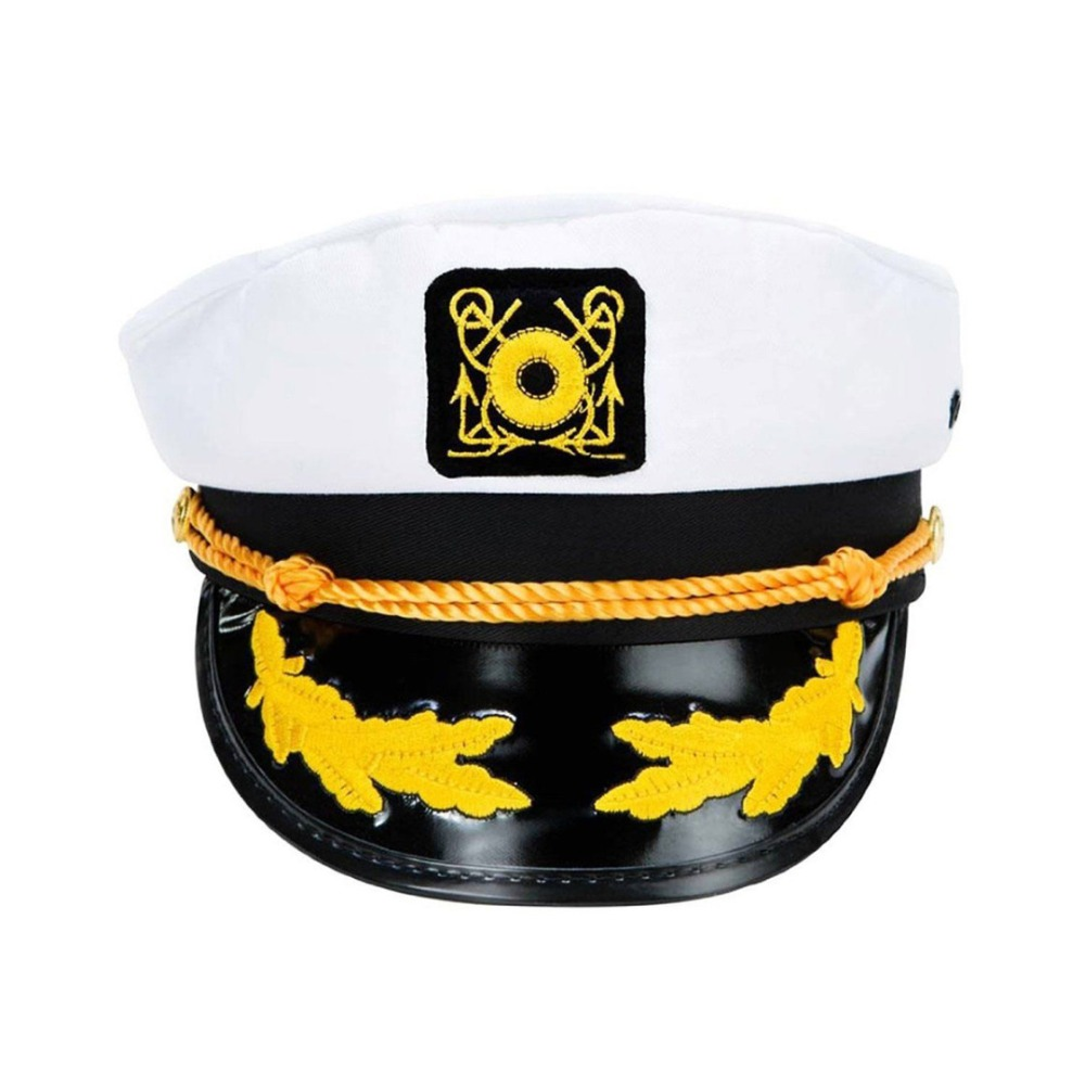 Unisex Cotton White Sailor Captain Hat Uniforms Costume Party Cosplay Stage Perform Flat Navy Military Cap