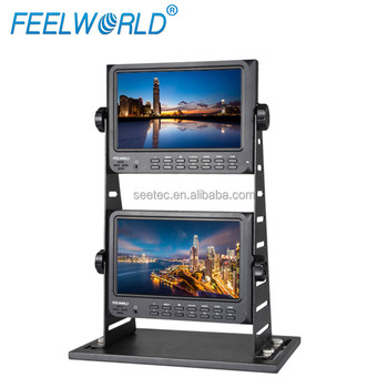 "High Quality IPS Panel 7"" Double Screen LCD Display 1024x600 High Resolution Jib Crane Monitor with HDMI"