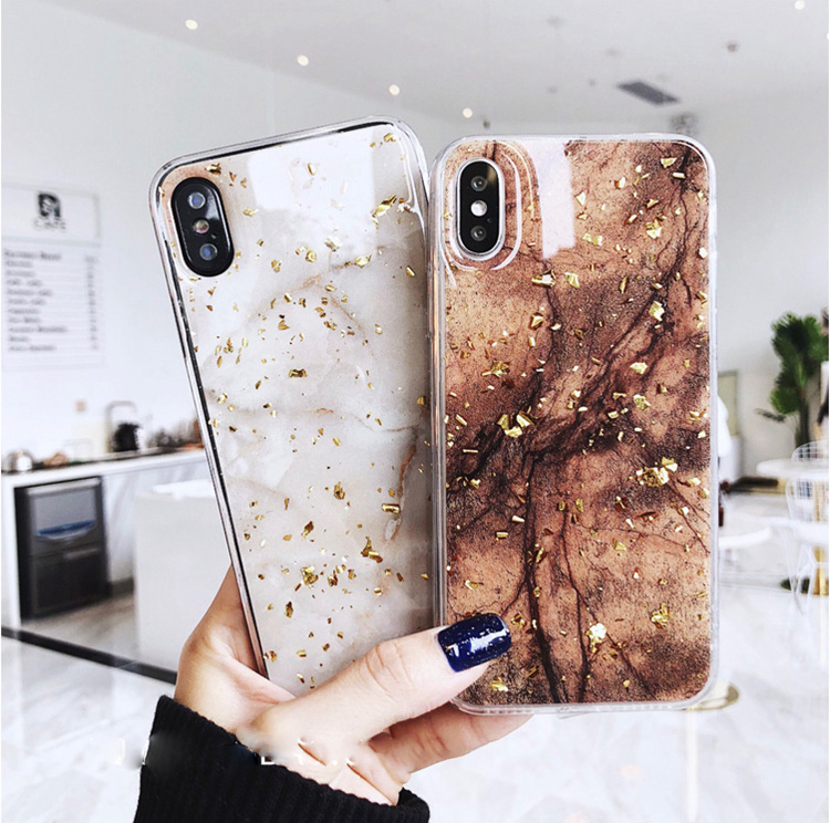 Bling Bling Fashion Gold Marble Tpu Mobile Phone Case For Iphone X