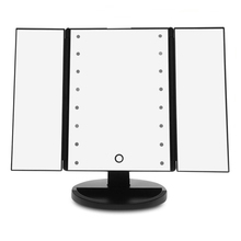 Tri-Fold lighted vanity makeup mirror touch screen table top led vanity mirror