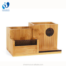 WanuoCraft Wholesale Personalized <strong>Bamboo</strong> Craft <strong>Pen</strong> <strong>Holders</strong> / Pencil Cups With 4-slot For Office Use