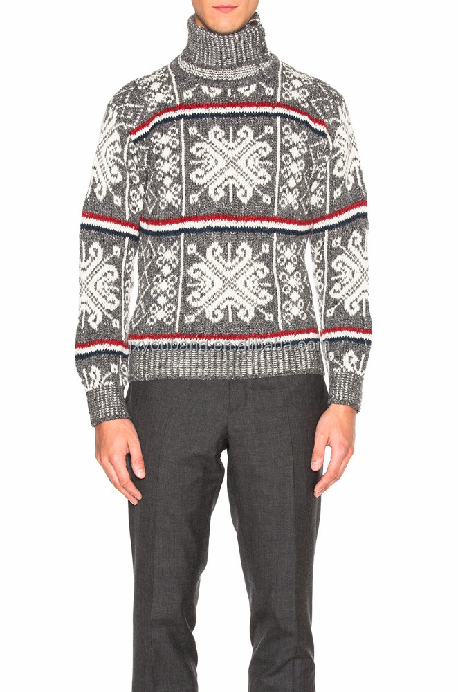 3GG KNIT WOOL TURTLENECK CHRISTMAS JACQUARD MEN PULLOVER SWEATER