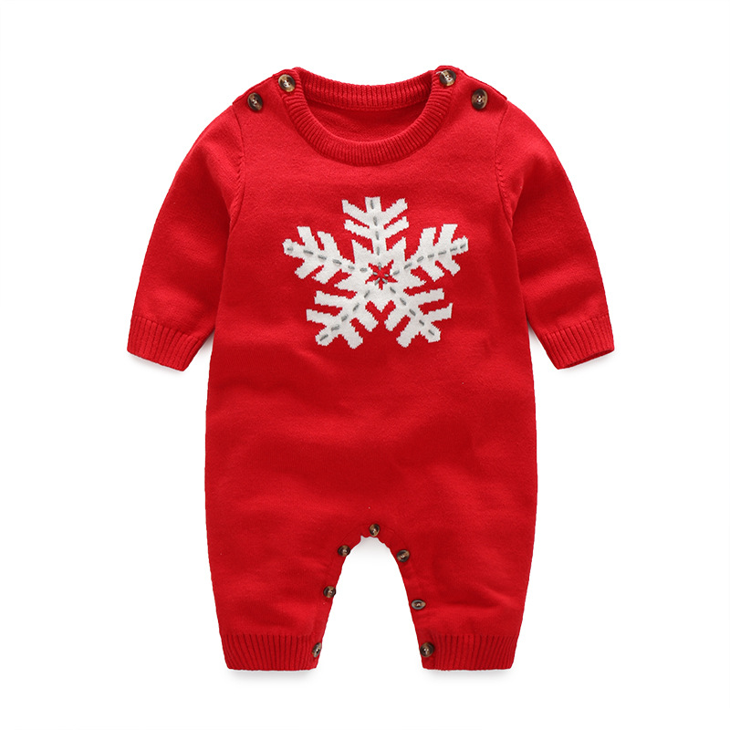 DM 589 wholesale toddler wear red grey sweater clothes red knit cotton Christmas romper